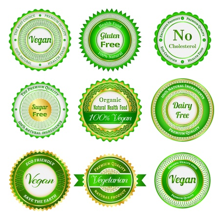 Set of labels, badges and stickers on organic and natural food