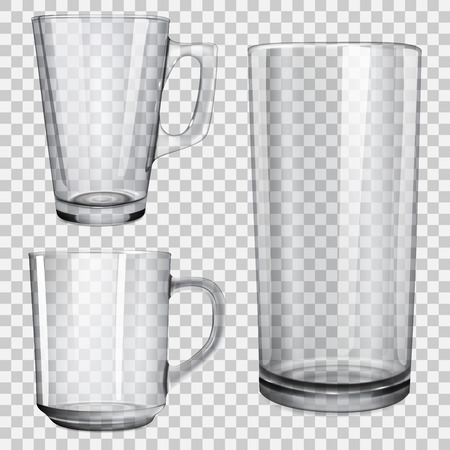 Two transparent glass cups and one glass for juice. On checkered background.