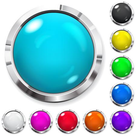 Illustration pour Set of realistic colored buttons with metallic borders - image libre de droit