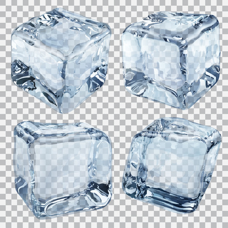 Set of four transparent ice cubes in light blue colors