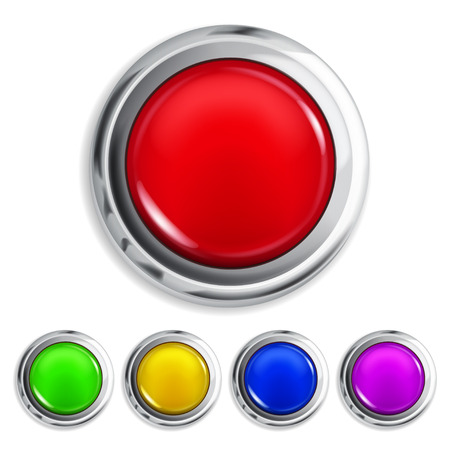 Set of realistic colored buttons with metallic borders