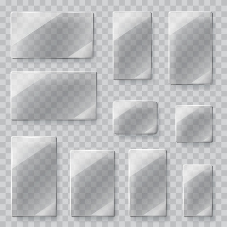 Set of transparent glass plates of different shapes in gray colors. Transparency only in vector file