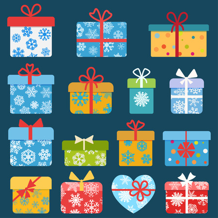 Set of different colorful christmas gift boxes with snowflakes. Flat design