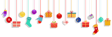 Background with multicolored hanging gift boxes, socks, mittens and christmas balls on white background