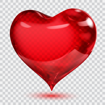Big transparent glossy red heart with shadow. Transparency only in vector format. Can be used with any background