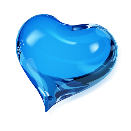 Big opaque heart in blue colors