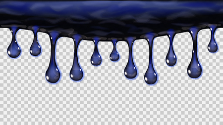 Flowing or hanging transparent seamless repeatable drops in dark blue colors