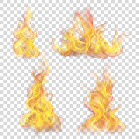 Illustration pour Set of fire flame on transparent background. For used on light backgrounds. Transparency only in vector format - image libre de droit
