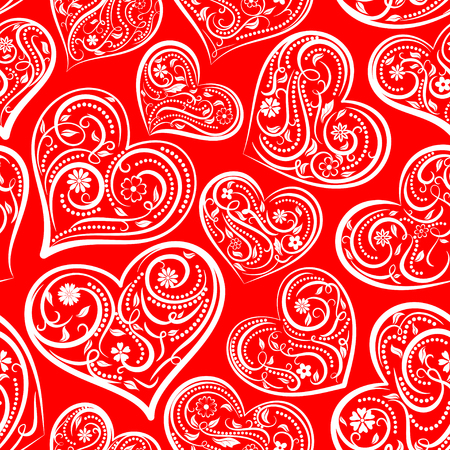 Foto de Seamless pattern of big hearts with ornament of curls, flowers and leaves, white on red. - Imagen libre de derechos