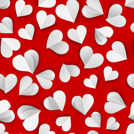 Illustration pour Seamless pattern of many paper volume hearts, white on red - image libre de droit