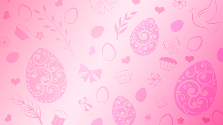 Illustration pour Background of eggs, flowers, cake, gift box and other Easter symbols in pink colors - image libre de droit