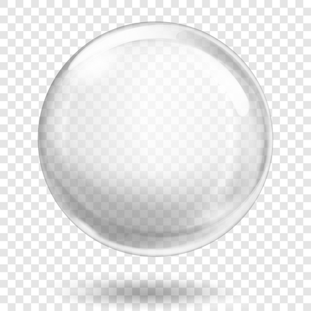 Illustration pour Big translucent white sphere with glares and shadow on transparent background. Transparency only in vector format - image libre de droit