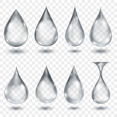 Illustration pour Set of translucent water drops in gray colors in various shapes, isolated on transparent background. Transparency only in vector format - image libre de droit