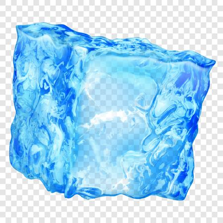 Illustration pour Realistic translucent ice cube in light blue color isolated on transparent background. Transparency only in vector format - image libre de droit