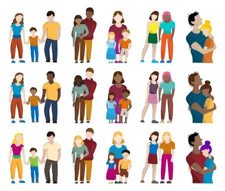 Illustration pour Set of colored silhouettes of different people: men, women, children, families - image libre de droit