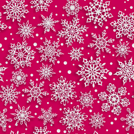 Illustration for Christmas seamless pattern of paper snowflakes with soft shadows on red background - Royalty Free Image