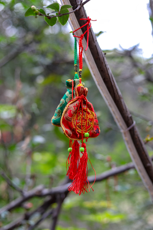 Sachet hanging on a branch