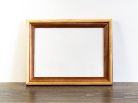 Photo for Frame mockup with horizontal wooden frame on white wall background - Royalty Free Image