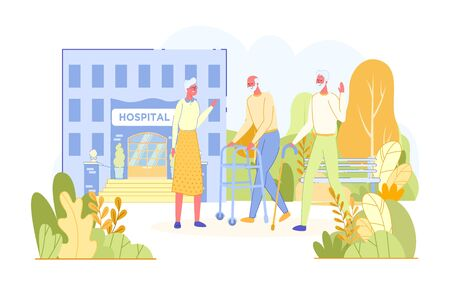 Illustration for Elderly People Meet and Talk in Hospital Park. - Royalty Free Image