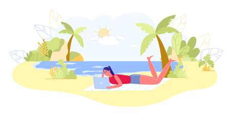 Illustration for Girl Blogger Rest on Tropical Beach with Laptop. - Royalty Free Image