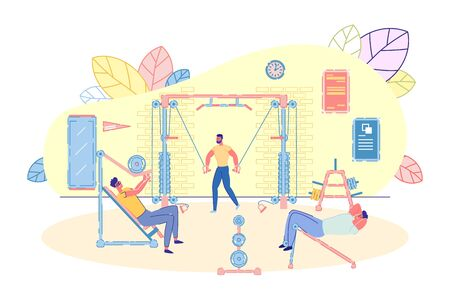Bodybuilding and Crossfit Equipment at Gym Interior Background. Sportive Workout Scene with People Cartoon Characters Spending Time in Fitness Club. Healthy Lifestyle. Flat Vector Illustration.