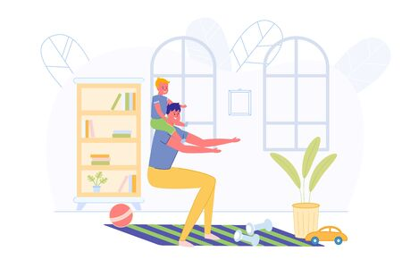 Morning Daily Exercise Son with Dad, Illustration. Man Crouched in Room, Little Boy Sits on his Shoulders. On Floor are Dumbbells for Doing Exercises. There are Lot Books in Closet.