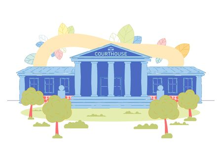 Illustration pour Courthouse with Scales Symbol on Facade with Stairs and Columns Empty Exterior. Tree, Plant, Grass and Shrub on Enterance. Government State Court, Justice House. Space of Legal Litigation - image libre de droit