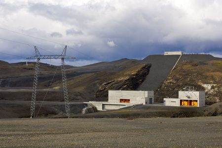 The barrage and power generator of a hydro-electric power plant in Iceland