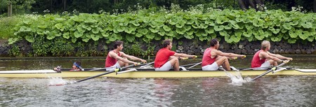 Coxed four at speed on a canal
