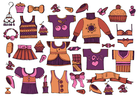 Illustration for Large set of clothes in vintage style - Vector - Royalty Free Image