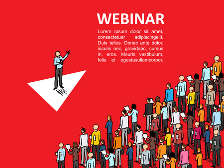Illustration pour Isometric graph People learn finance Vector Webinar Online school business Manager Isometric finance Conference Leadership training Person - image libre de droit