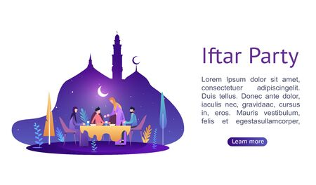 Illustration pour Ramadan Kareem. Iftar Eating After Fasting concept. Family dinner on or celebrating Eid Mubarak. Moslem family dinner on celebrating Eid with people character. Islamic kids Book Illustration. - image libre de droit