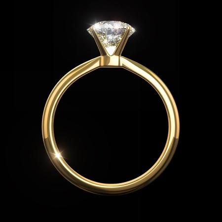 Diamond ring - - isolated on black background