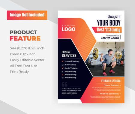 Illustration pour Shape Your Body Be Fit & Strong, fitness & gym flyer Template. - image libre de droit