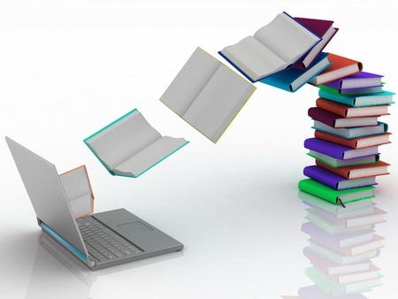 Photo pour books fly into your laptop - image libre de droit