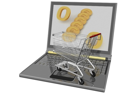 Shopping-cart and laptop isolated. Conception of purchase of commodities on the internet