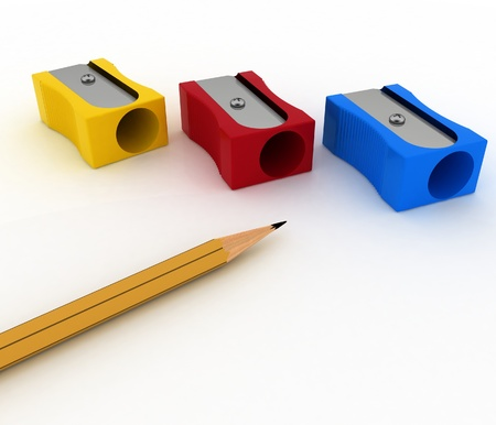 pencils sharpeners and pencil on white background