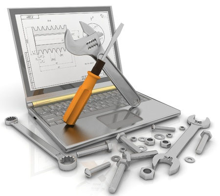 Photo pour 3-D illustration of a notebook with the tools and fasteners of details for repair - image libre de droit