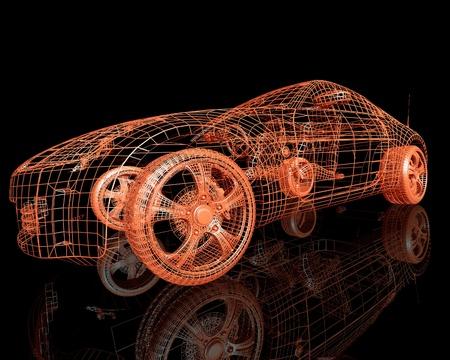 Photo pour front view of the modern model cars  3d render on black background - image libre de droit