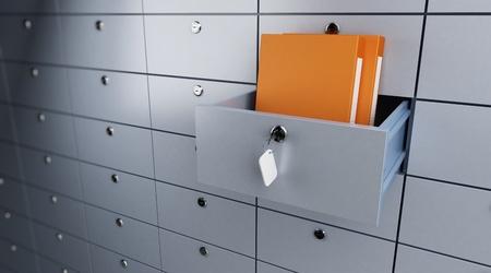 Photo pour safe storage of documents opened empty bank cel - image libre de droit