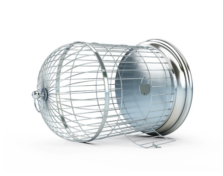 Photo for open birdcage on a white background - Royalty Free Image