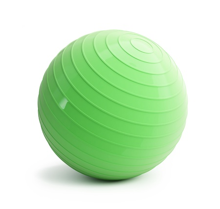 fitness green ball on a white background