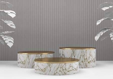 Photo pour White marble and gold stage platform podium, for advertising product display background, 3d rendering. - image libre de droit