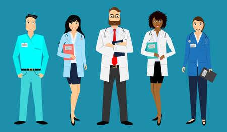 Illustration for Medical staff - doctors, nurses - vector illustration - Royalty Free Image