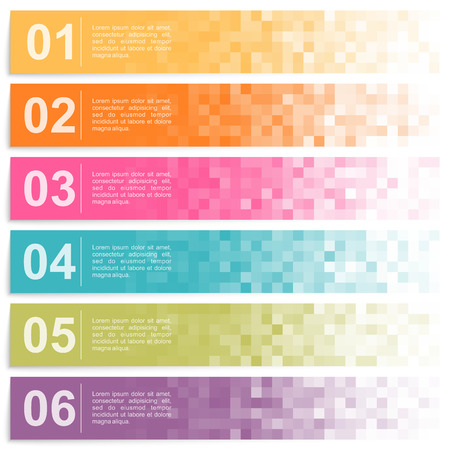 Set of colorful pixel banners with options
