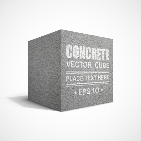 Concrete cube on white background