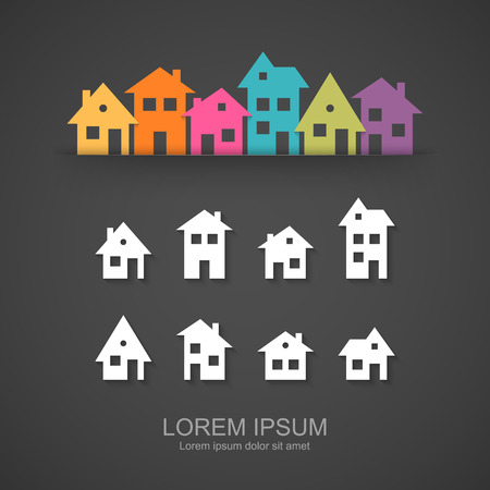Suburban homes icon set