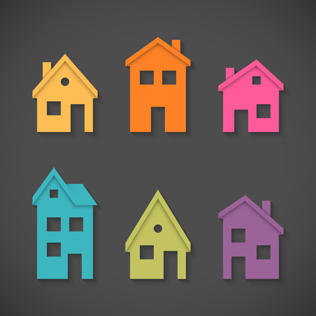 Illustration pour Set of colorful houses icons - image libre de droit