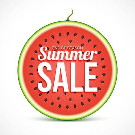 Illustration pour Summer sale on watermelon slice isolated on white background - image libre de droit
