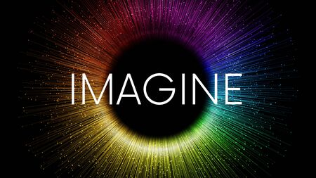 Illustration pour IMAGINE word written on black background with colorful rainbow streaks and glowing sparkling particles - image libre de droit